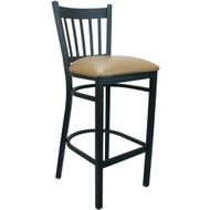 Advantage Vertical Slat Back Metal Bar Stool - Beige Padded [BSVB-BFBGV]