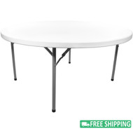 5-pack Advantage 6 ft. Round White Plastic Folding Tables [ADV72R-WHITE-05]