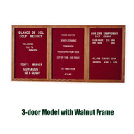Ghent 48x72-inch Enclosed Burgundy Letter Board - Walnut Frame [PN34872B-BG]