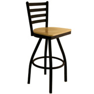 BFM Seating Lima Black Metal Ladder Back Restaurant Swivel Bar Stools [2160S-SBW]