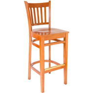 BFM Seating Delran Cherry Wood Slat Back Restaurant Bar Stool [WB102CHCHW]