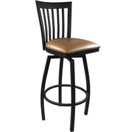 Advantage Vertical Slat Back Metal Swivel Bar Stool - Beige Padded [SBVB-BFBGV]