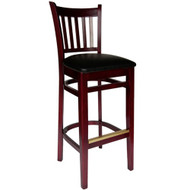 BFM Seating Delran Mahogany Wood Slat Back Restaurant Bar Stool [LWB102MHV]