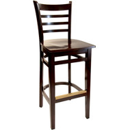 BFM Seating Burlington Walnut Ladder Back Restaurant Bar Stool [LWB101WAWAW]