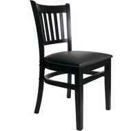 BFM Seating Delran Black Wood Slat Back Restaurant Chair [LWC102BLV]