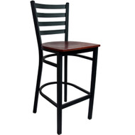 Advantage Ladder Back Metal Bar Stool - Mahogany Wood Seat [BSLB-BFMW]