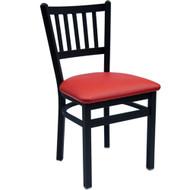 BFM Seating Troy Black Metal Slat Back Restaurant Chair [2090C-SBV]