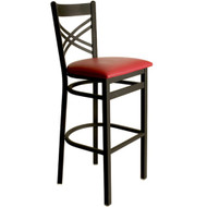 BFM Seating Akrin Black Metal Cross Back Bar Stool with Vinyl Seat [2130B-SBV]