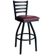 BFM Seating Lima Black Metal Ladder Back Restaurant Swivel Bar Stools [2160S-SBV]