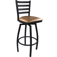 Advantage Ladder Back Metal Swivel Bar Stool - Beige Padded [SBLB-BFBGV]