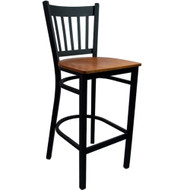 Advantage Vertical Slat Back Metal Bar Stool - Cherry Wood Seat [BSVB-BFCW]