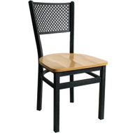 BFM Seating Polk Black Metal Perforated Back Restaurant Chair [2161C-SBW]