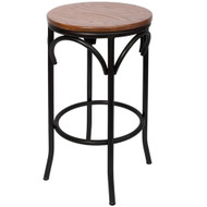 BFM Seating Henry Industrial Backless Bar Stool with Round Wood Seat [JS800BASH-SB-BFMS]