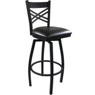 Advantage Cross Back Metal Swivel Bar Stool - Black Padded [BFDH-706688X-BK-BAR-TDR]