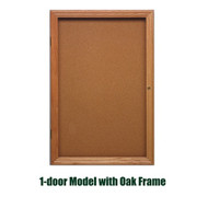 Ghent 36x30-inch Enclosed Cork Bulletin Board - Oak Frame [PW13630K]
