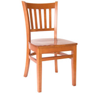 BFM Seating Delran Cherry Wood Slat Back Restaurant Chair [WC102CHCHW]