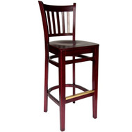 BFM Seating Delran Mahogany Wood Slat Back Restaurant Bar Stool [WB102MH-BFMS]