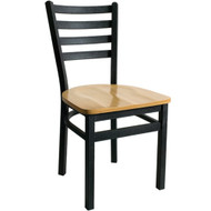 BFM Seating Lima Black Metal Ladder Back Restaurant Chair [2160C-SBW]