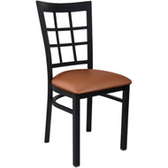 Advantage Black Metal Window Pane Back Chair - Mocha Padded [RCWPB-BFMV]
