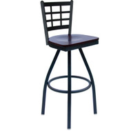 BFM Seating Marietta Metal Window Pane Restaurant Swivel Bar Stools [2163S-SBW]