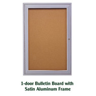 Ghent 36x36-inch Enclosed Cork Bulletin Board - Satin Aluminum Frame [PA13636K]
