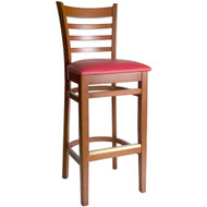BFM Seating Burlington Cherry Wood Ladder Back Restaurant Bar Stool [LWB101CHV]