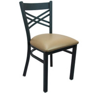 Advantage Black Metal Cross Back Chair - Beige Padded [RCXB-BFBGV]
