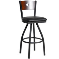 BFM Seating Darby Metal Circle Wood Back Restaurant Swivel Bar Stool with Vinyl Seat [2152S-SBV]