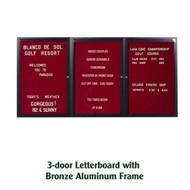 Ghent 36x72-inch Enclosed Burgundy Letter Board - Bronze Aluminum Frame [PB33672B-BG]