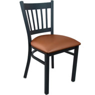 Advantage Black Metal Vertical Slat Back Chair - Mocha Padded [RCVB-BFMV]