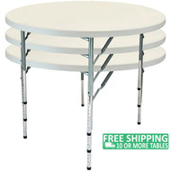 Advantage 4 ft. Round Adjustable Plastic Folding Table [FTD48R-ADJ] Seats 6 adults