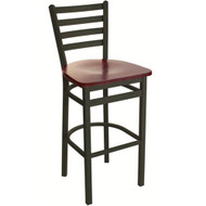 BFM Seating Lima Black Metal Ladder Back Restaurant Bar Stool with Wood Seat [2160B-SBW]