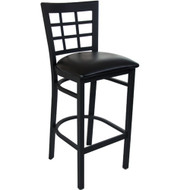 Advantage Window Pane Back Metal Bar Stool - Black Padded [BFDH-85BKBARNIW-TDR]