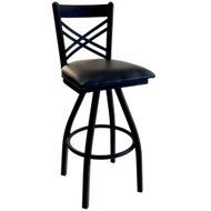 BFM Seating Akrin Black Metal Cross Back Swivel Bar Stool with Vinyl Seat [2130S-SBV]