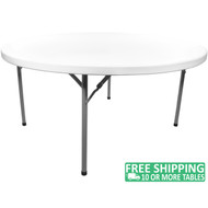 Advantage 5 ft. Round White Plastic Folding Table [ADV60R-WHITE] Seats 8 Adults