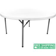Advantage 5 ft. Round White Plastic Folding Table [ADV60R-WHITE] Seats 8 Adults