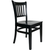 BFM Seating Delran Black Wood Slat Back Restaurant Chair [WC102BLBLW]