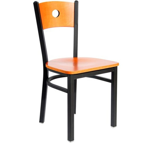 Bfm Seating Darby Black Metal Circle Wood Back Restaurant Chair With