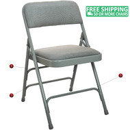 Advantage Grey Padded Metal Folding Chair - Grey 1-in Fabric Seat [DPI903F-GG]