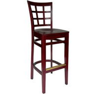 BFM Seating Pennington Mahogany Window Pane Bar Stool with Wood Seat [WB629MH-BFMS]