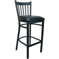 Advantage Vertical Slat Back Metal Bar Stool - Black Padded [BFDH-88398BKBARTRV-TDR]
