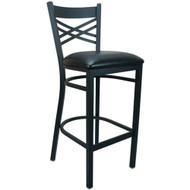 Advantage Cross Back Metal Bar Stool - Black Padded [BFDH-6147BKBAR-TDR]
