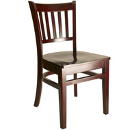 BFM Seating Delran Mahogany Wood Slat Back Chair with Wood Seat [WC102MH-BFMS]