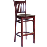 BFM Seating Princeton Mahogany School Back Bar Stool with Wood Seat [WB7218MH-BFMS]