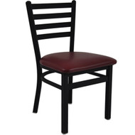 BFM Seating Lima Black Metal Ladder Back Restaurant Chair with Vinyl Seat [2160C-SBV]