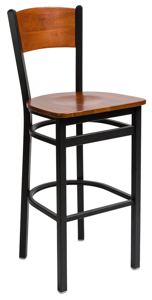 Awe Inspiring Bfm Seating Dale Black Metal Solid Wood Back And Seat Bar Stool 2150Bw Bfms Alphanode Cool Chair Designs And Ideas Alphanodeonline