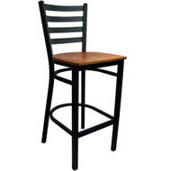 Advantage Ladder Back Metal Bar Stool - Cherry Wood Seat [BSLB-BFCW]