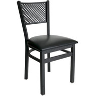 BFM Seating Polk Black Metal Perforated Back Chair with Vinyl Seat [2161C-SBV]