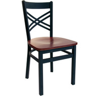 BFM Seating Akrin Black Metal Cross Back Restaurant Chair with Wood Seat [2130C-SBW]