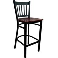 Advantage Vertical Slat Back Metal Bar Stool - Mahogany Wood Seat [BSVB-BFMW]